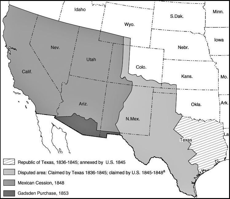 Map of the United States: Expansion 1836-1853. Republic of Texas, Gadsden Purchase, Treaty of Guadalupe Hidalgo