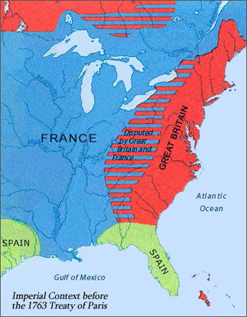 Map of North America Before the 1763 Treaty of Paris