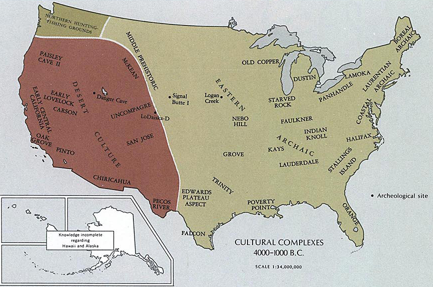 Map of the area of today's United States 4000 - 1000 B.C.