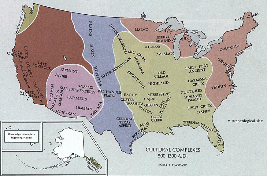 Map of the Area of today's United States 500 - 1300 A.D.