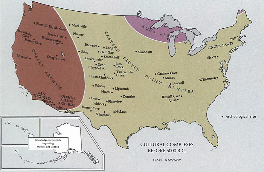 Map of today's United States - Cultural Complexes Before 5000 B.C.