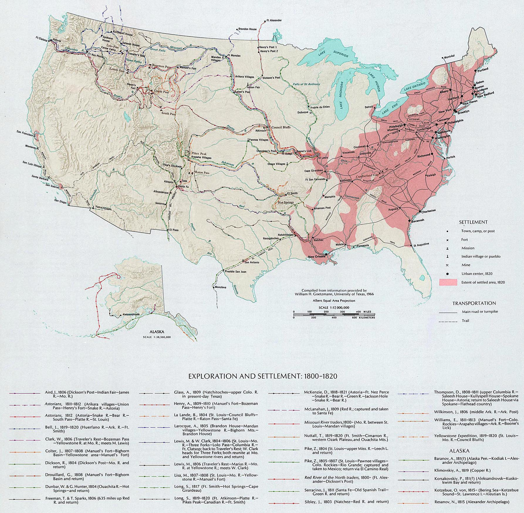 Map of the United States - Exploration and Settlement 1800-1820