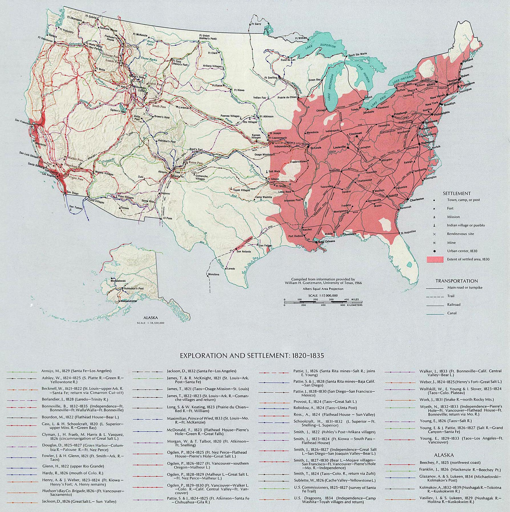 Map of the United States - Exploration and Settlement 1820-1835