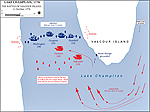 Map of the Battle of Valcour Island - October 11, 1776