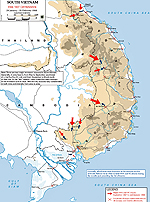 Map of the Vietnam War: the Tet Offensive 1968