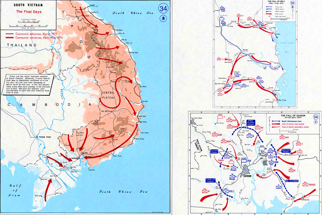 History Map of the Vietnam War. South Vietnam, The Fall of MR II, The Fall of Saigon, 1975.