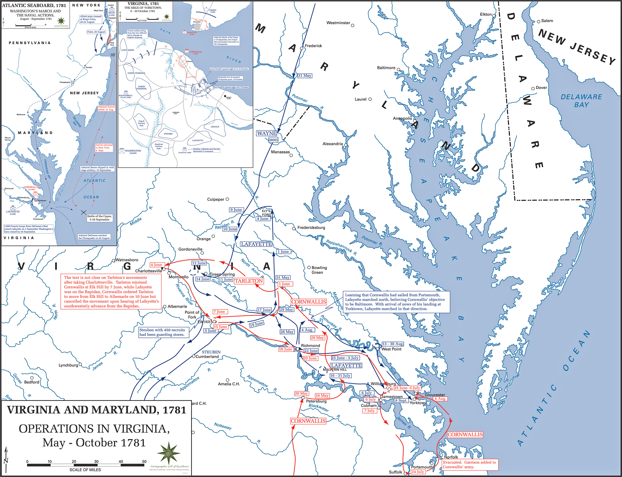Map of the American Revolution: Operations in Virginia, May-October 1781