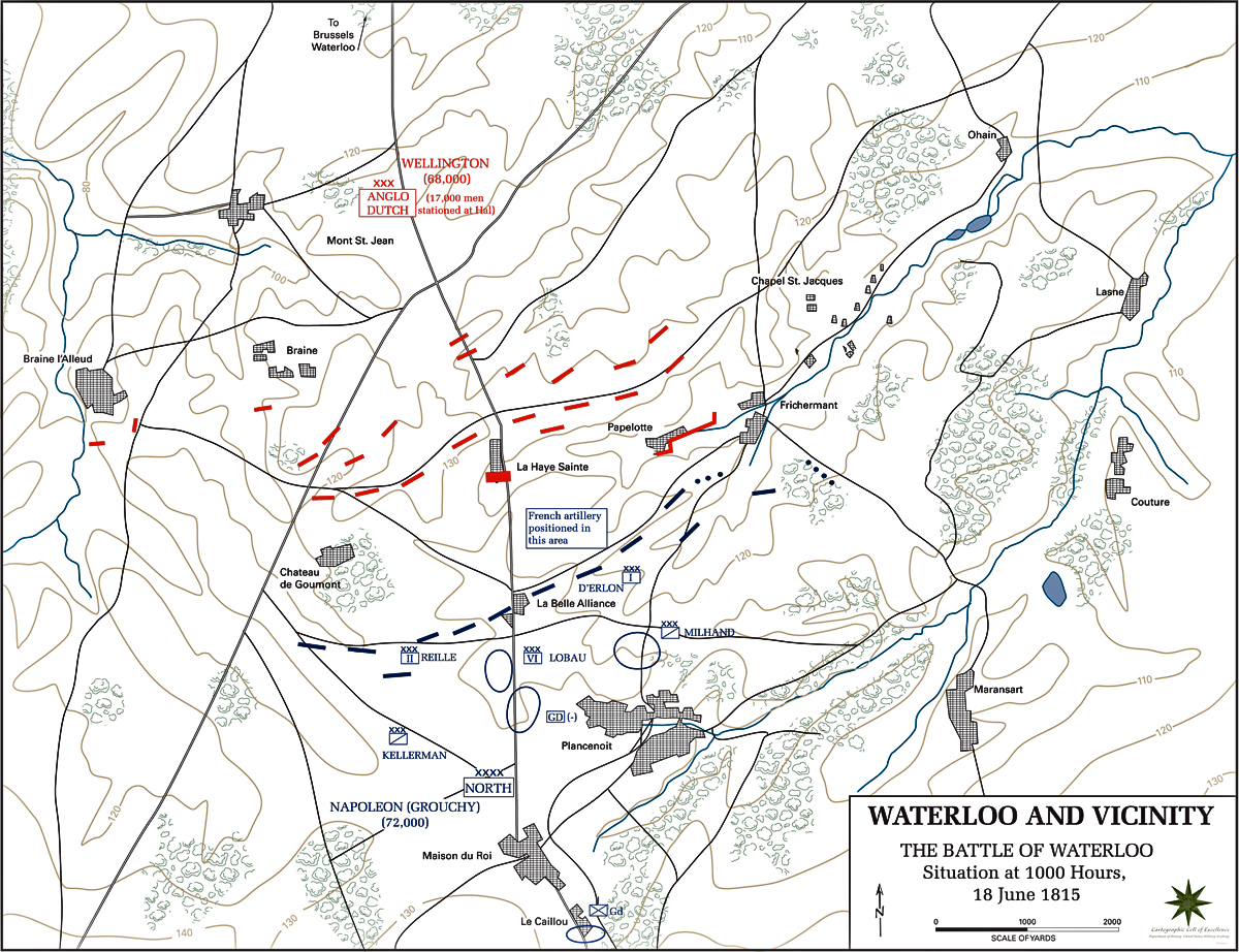 Map of the Battle of Waterloo - June 18, 1815 (USMA)