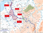 Map of WWI: Western Front 1918 - Five German Offensives