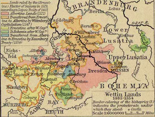 Map of the Wettin Lands, 1485-1554