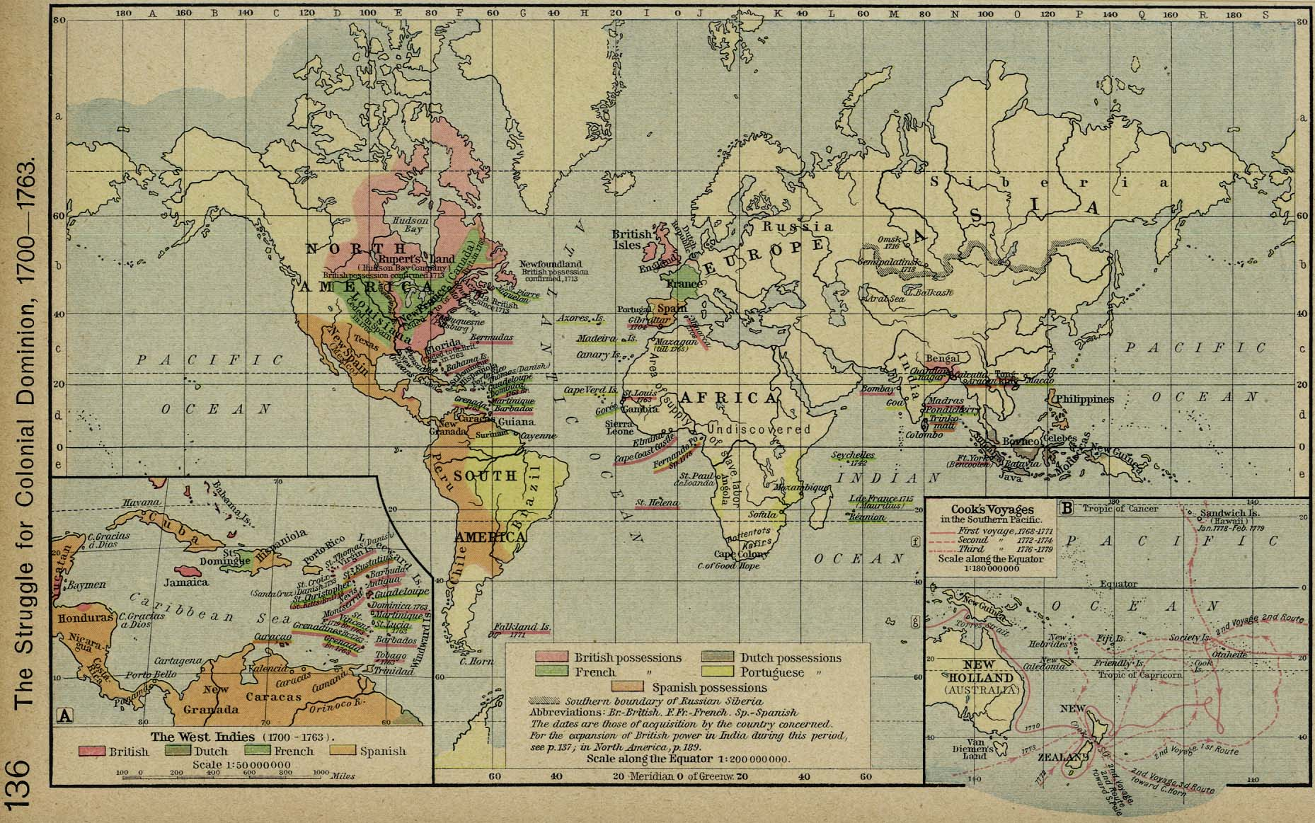 World Map 1700 - 1763: Colonies