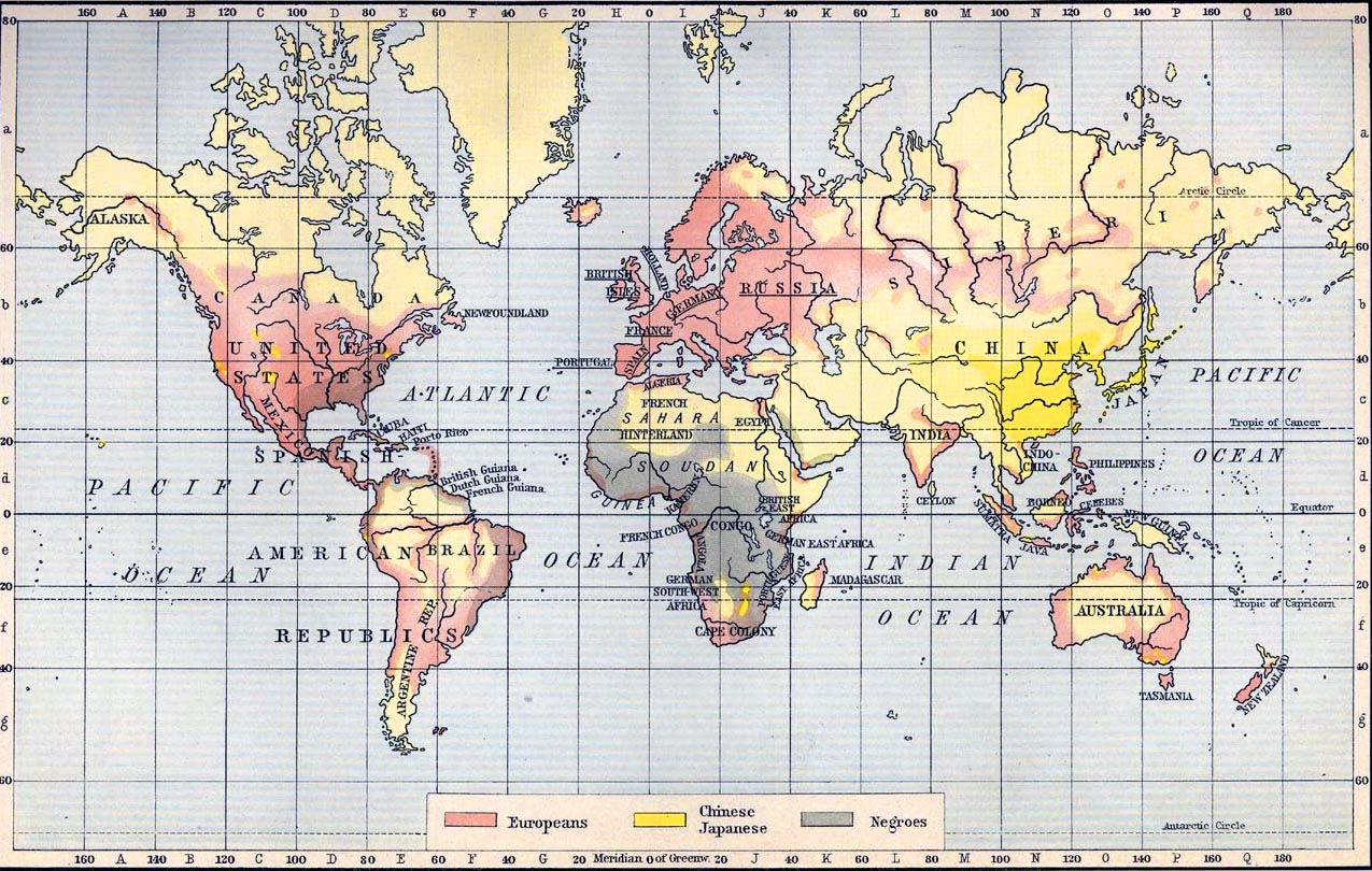 Map of the World Races 1911
