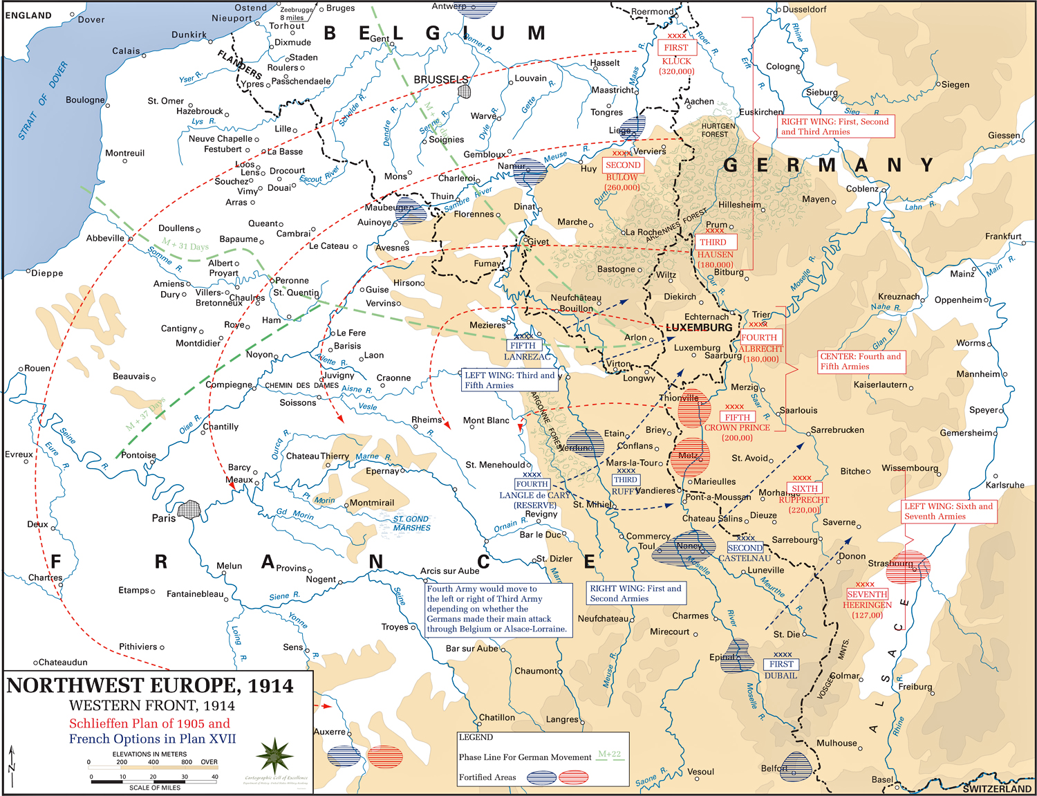 Map of WWI: The Western Front 1914