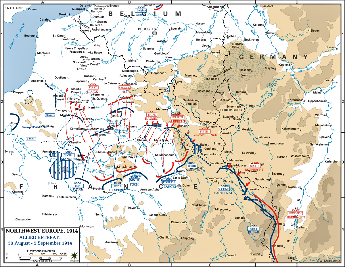 Map of Northwest Europe - Aug 30-Sep 5, 1914: Allied Retreat