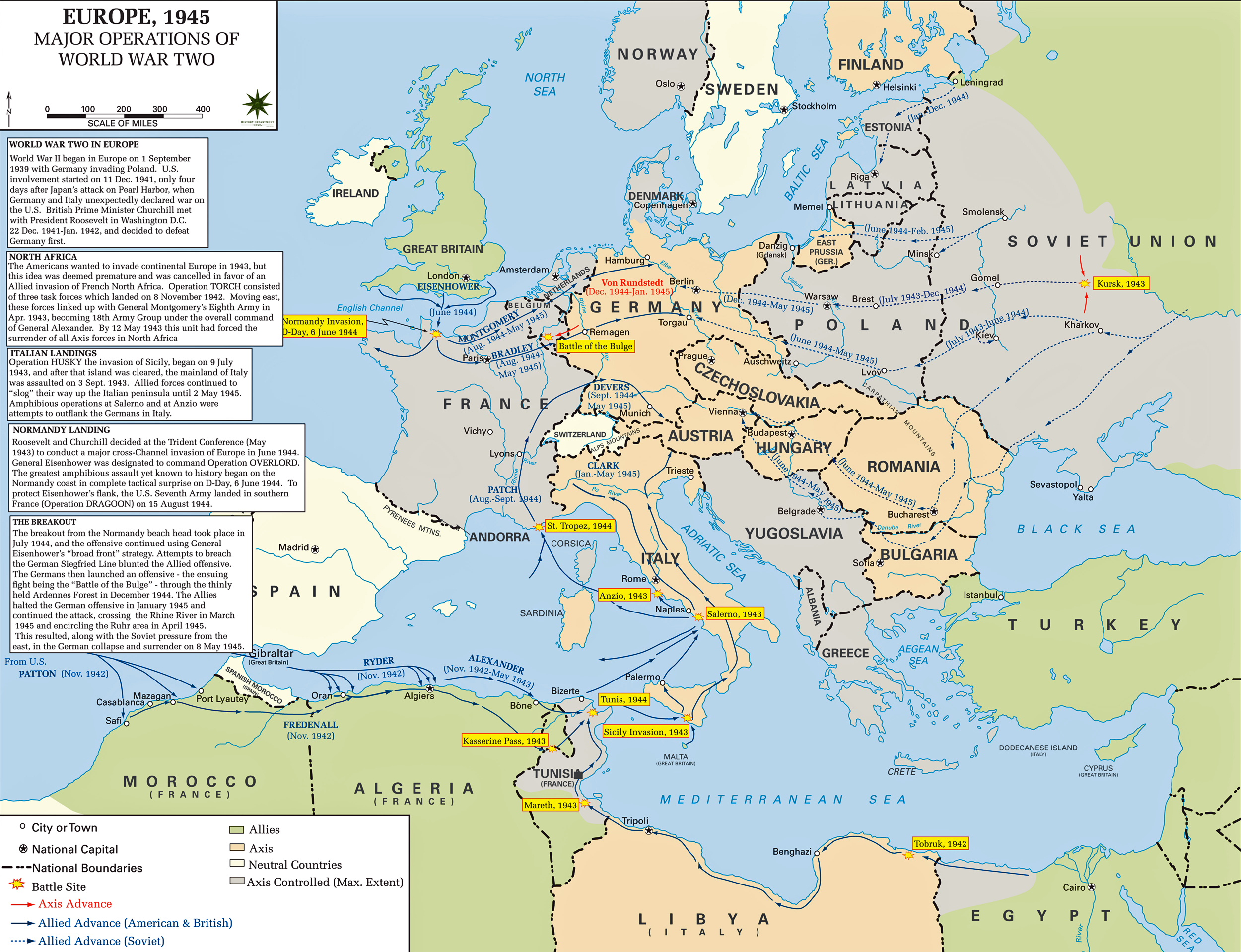 Map of WWII - Major Operations 1939-1945