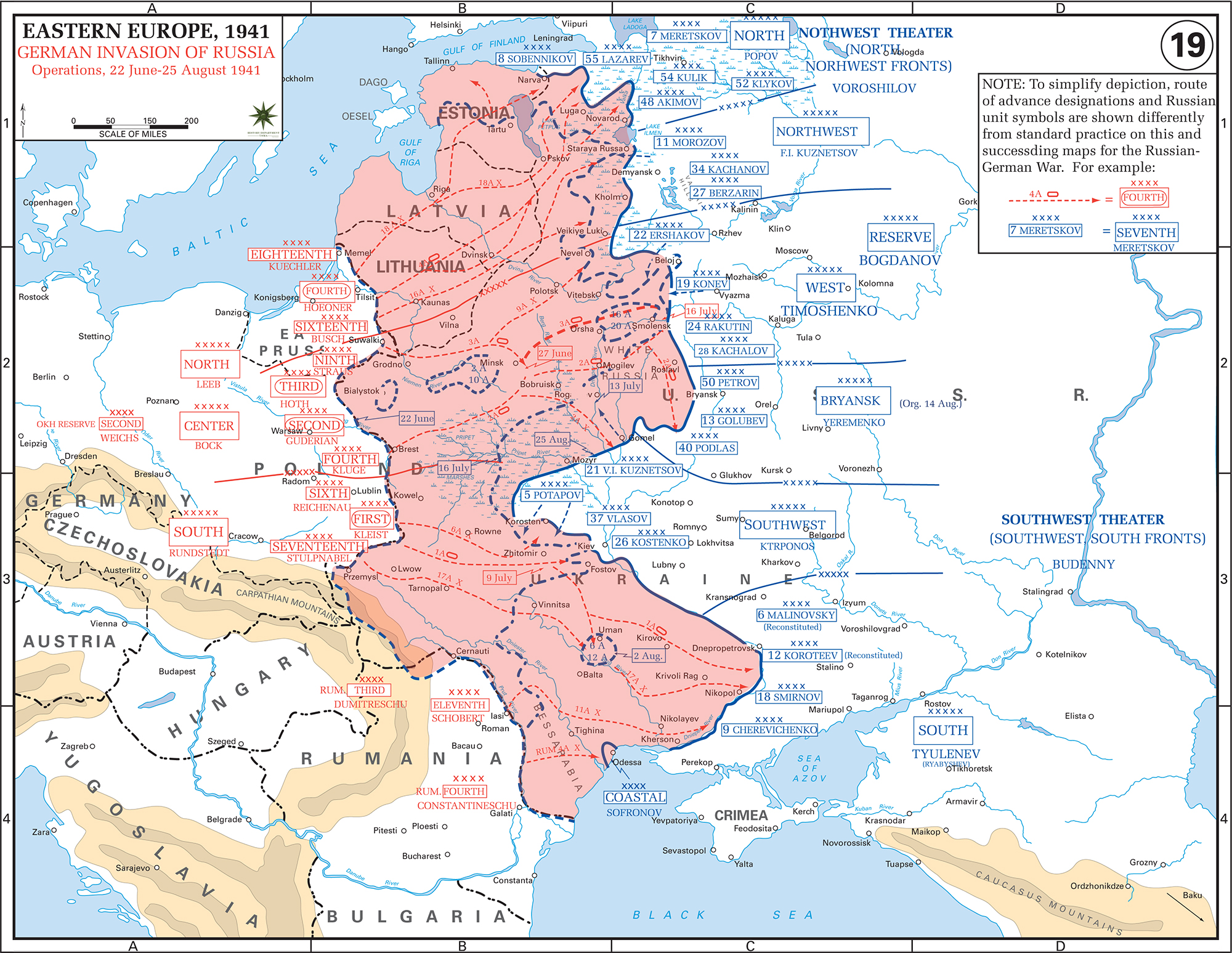 WWII - German Invasion of Russia Operations June 22-August 25, 1941